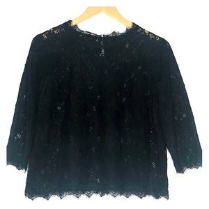 Talbots Woman Lace Black Top 8P